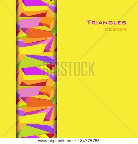 Abstract geometric background. Vertical center yellow border geometric design. Orange, yellow, green and purple geometric abstract triangles border design in white background. Vector illustration.