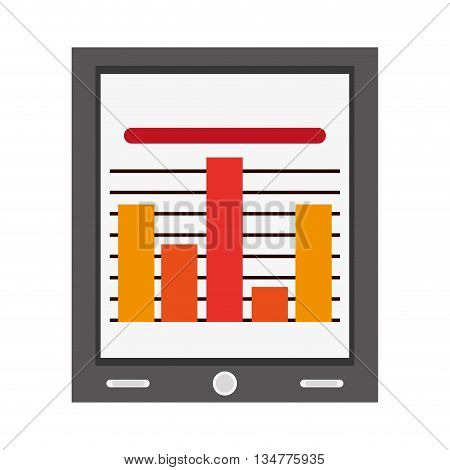 colored bar graph on the screen of a tablet vector illustration isolated over white