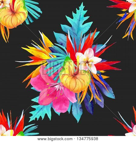 Beautiful bouquet with lily palm leaves plumeria strelitzia and anthurium on black background.