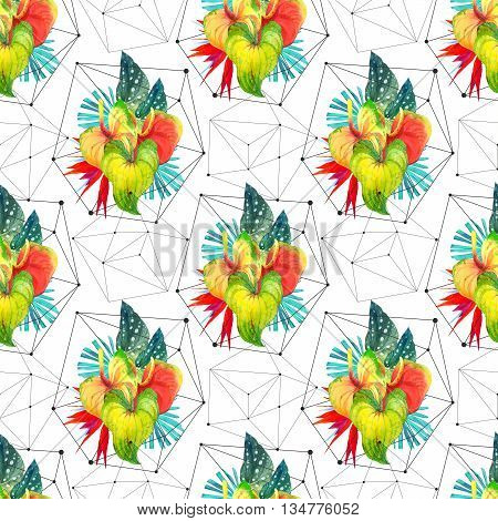 Beautiful pattern with begonia leaves anthurium and strelitzia on black and white background with geometric pattern.
