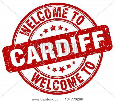 welcome to Cardiff stamp. welcome to Cardiff.