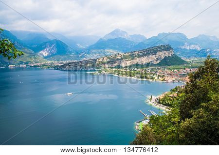 Panorama of Torbole a small town on Lake Garda Italy.