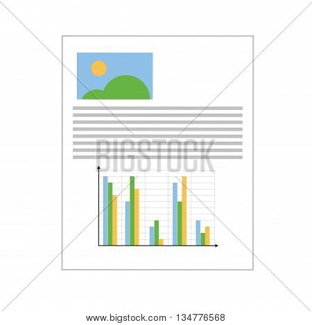 white paper with grey lines with drawing on the corner and a bar graph on the bottom vector illustration isolated over white