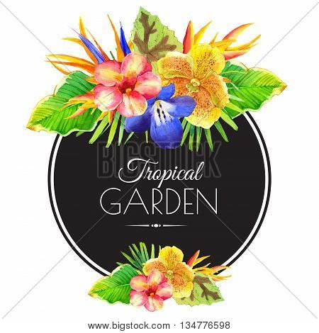 Floral illustration with tropical flowers and plants on white background. Composition with palm leaves orchid lily and strelitzia.