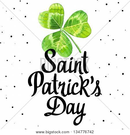 Illustration of st. patrick's day with watercolor realistic leaves of clover on white background.