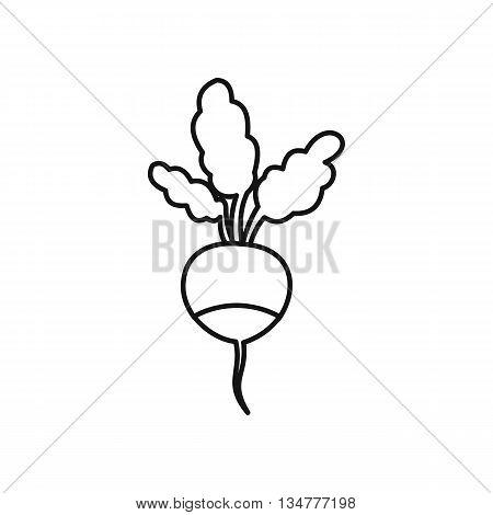 Fresh radish icon in outline style isolated on white background