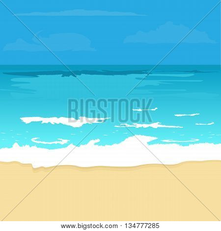 Illustration background with ocean and beach. Sea and sand for travel or beach time concept background