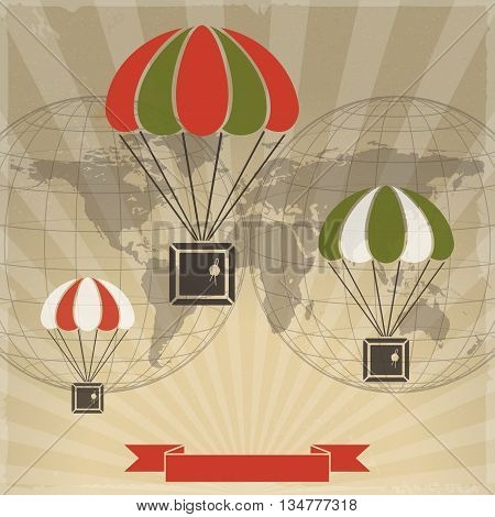 parcels with parachutes on world map background