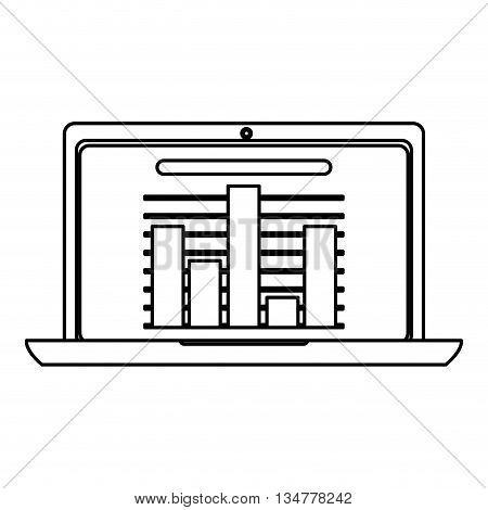laptop showing bar graph vector illustration isolated over white