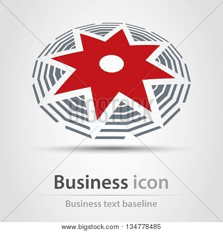 Originally created red star business icon in perspective view