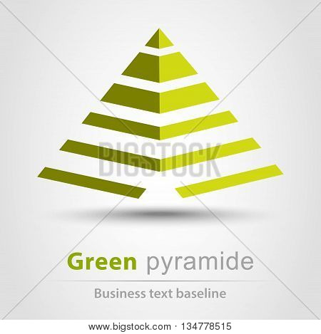 Green pyramid colorful business icon with shadow