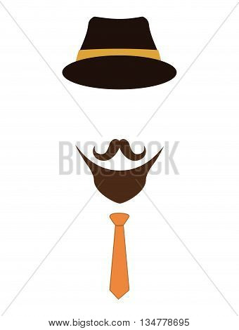 Hipster style concept represented by fashion hat, mustache and necktie illustration, flat and isolated design