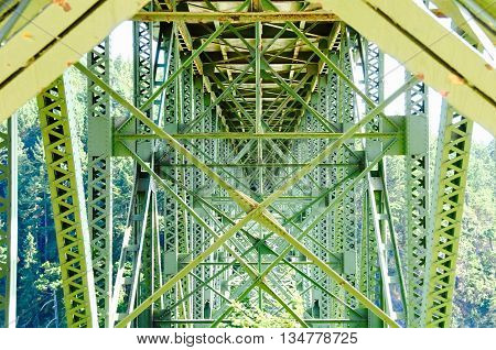 Steel bridge structure looking from the bottom up.