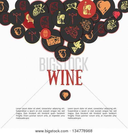 Wine Hand drawn set. Vector illustration. Wine signs - bottle, glass, grape, grape leaf, cheese. Can be used for wrapping, banners. site background