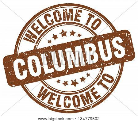 welcome to Columbus stamp. welcome to Columbus.