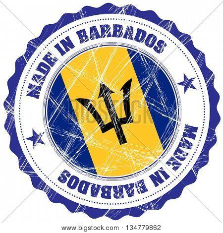 Made in Barbados grunge rubber stamp with flag