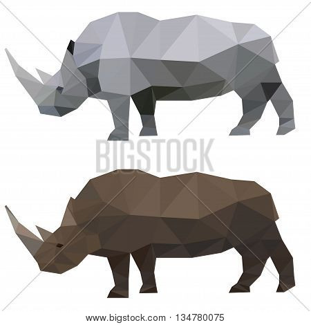 Abstract polygonal rhino. Triangle polygonal rhino. Low poly rhino set. Animal and wildlife theme.