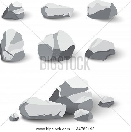 Collection of rocks and stone pile with shadows