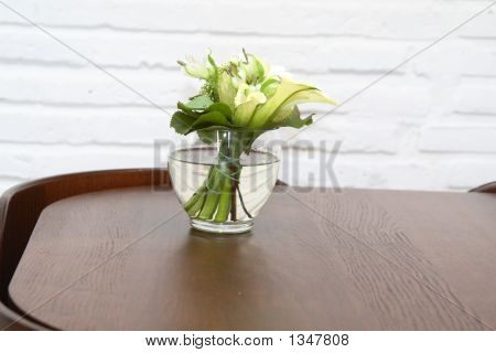 Green Spring Bouquet On Dinning Table