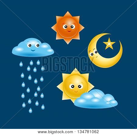 Set of Badges and icons in a vector of characters with names for kids weather events. Internet site icons in the weather
