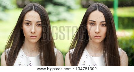Before and after, retouched picture, portrait of young woman, summer outdoors
