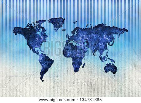 Blue Map. Art Map. World map.