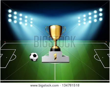 Football and soccer match. reward 1st vector illustration. Design for soccer champion.