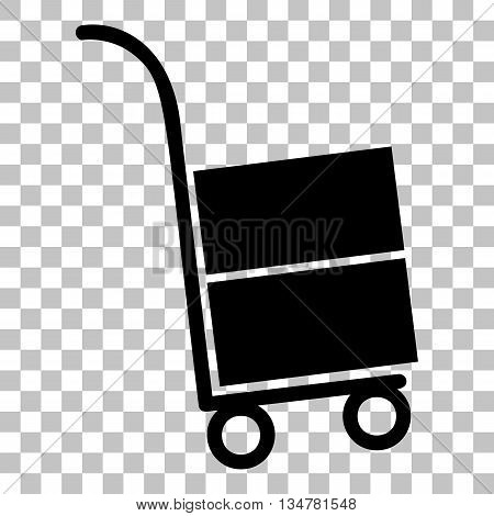 Hand truck sign. Flat style black icon on transparent background.