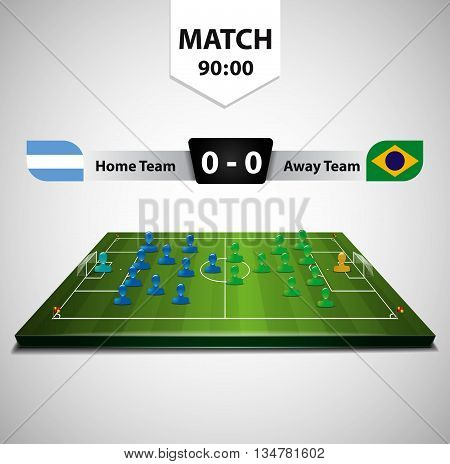 Vector soccer field with scoreboard. Brazil flag and Argentina Flag