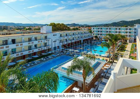 view of the beautiful modern hotel on shores of the Aegean Sea Rhodes Greece