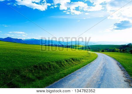 Beautiful landscape, green and yellow meadow with road