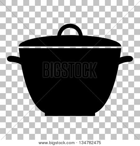 Saucepan simple sign. Flat style black icon on transparent background.