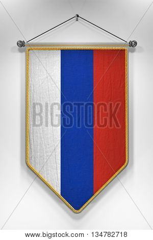 Pennant with Russian flag. 3D illustration with highly detailed texture.