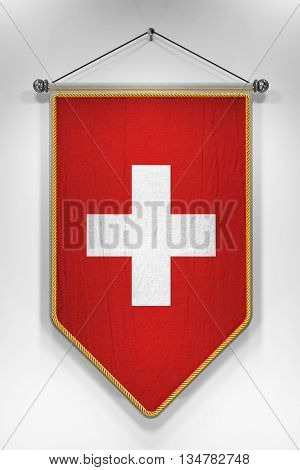 Pennant with Swiss flag. 3D illustration with highly detailed texture.