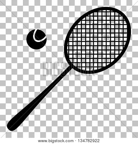 Tennis racquet sign. Flat style black icon on transparent background.