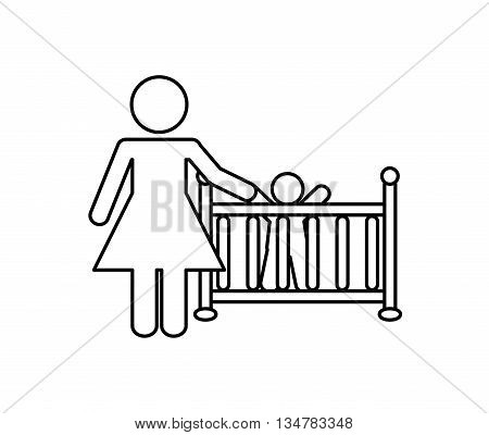 Pictogram of Family design about mother and baby  illustration, flat and isolted design
