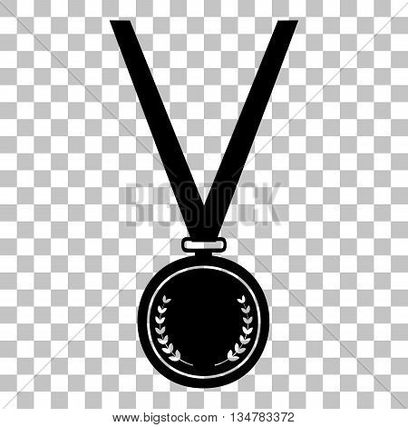 Medal simple sign. Flat style black icon on transparent background.
