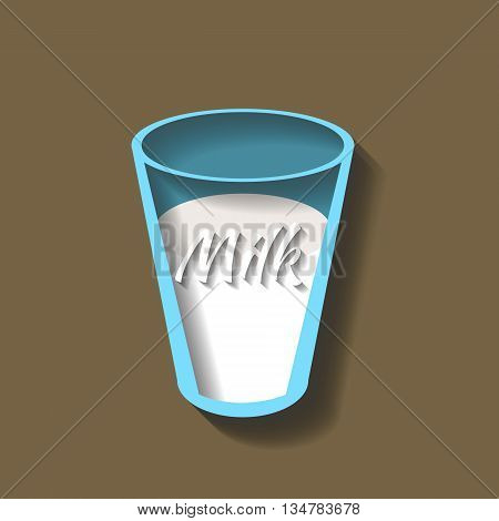 vector image of glass of milk, cut from paper.