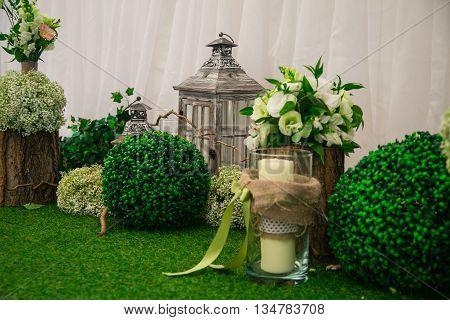 Wedding still life in rustic style. Retro stylized photo.