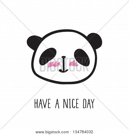 Small card with a cute panda. Hand drawn panda for your design. Doodles, sketch. Vector.