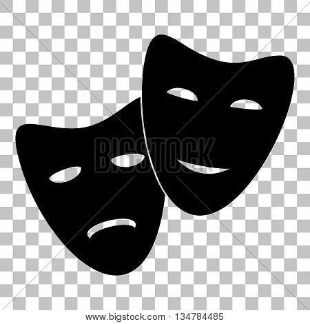 Theater icon with happy and sad masks. Flat style black icon on transparent background.