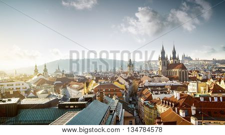 Cityscape of old town in Prague Czech Republic