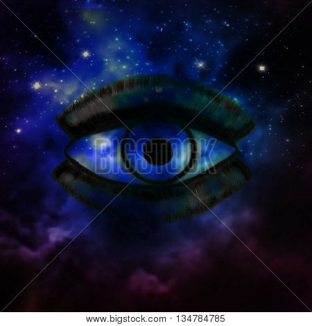 Woman Eye and cosmic space with stars and music speaker silhouette. abstract color background, eye contact, music concept.
