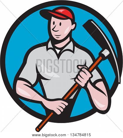 Illustration of a construction worker looking to the side holding pickaxe viewed from front set inside circle on isolated background done in cartoon style.