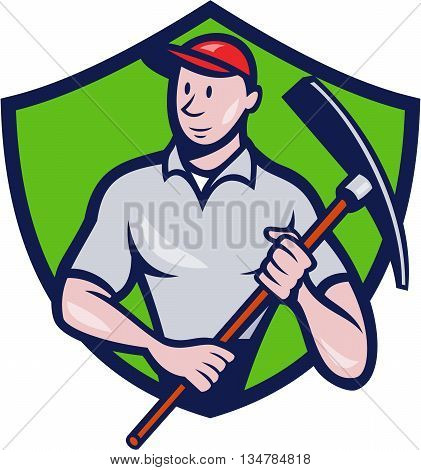 Illustration of a construction worker looking to the side holding pickaxe viewed from front set inside shield crest on isolated background done in cartoon style.