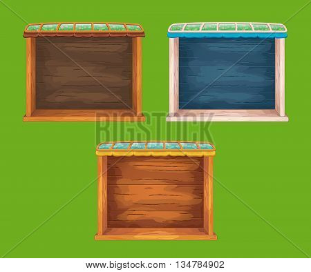 Game wooden shelf windows set  with glass roof