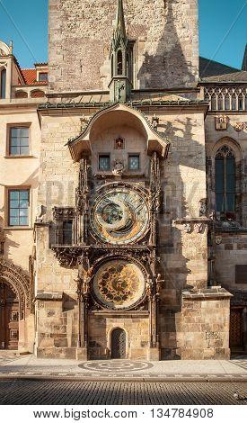 Astronomical clock in Prague city center Czech Republic