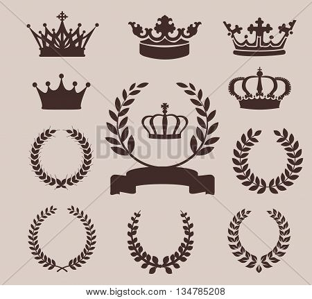 Crown and wreaths icons. Vector illustration for Your Desing