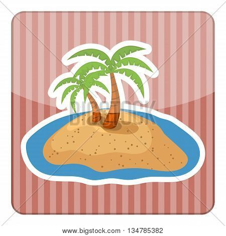 Palm colorful icon. Vector illustration in cartoon style