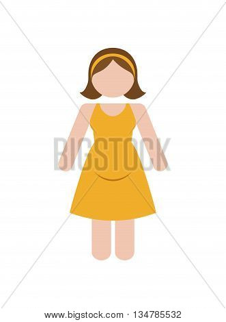 Avatar of woman design with dress illustration, flat and isolted design